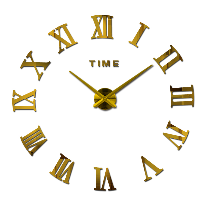 Nuevo reloj de pared de espejo acrílico grande creativo diy reloj de cuarzo relojes de una sola cara decoración moderna del hogar pegatinas para sala de estar