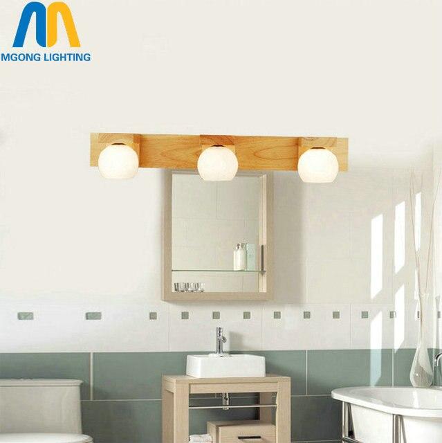 Houten lange badkamer spiegel armatuur moderne wandlamp G4 LED lamp ...