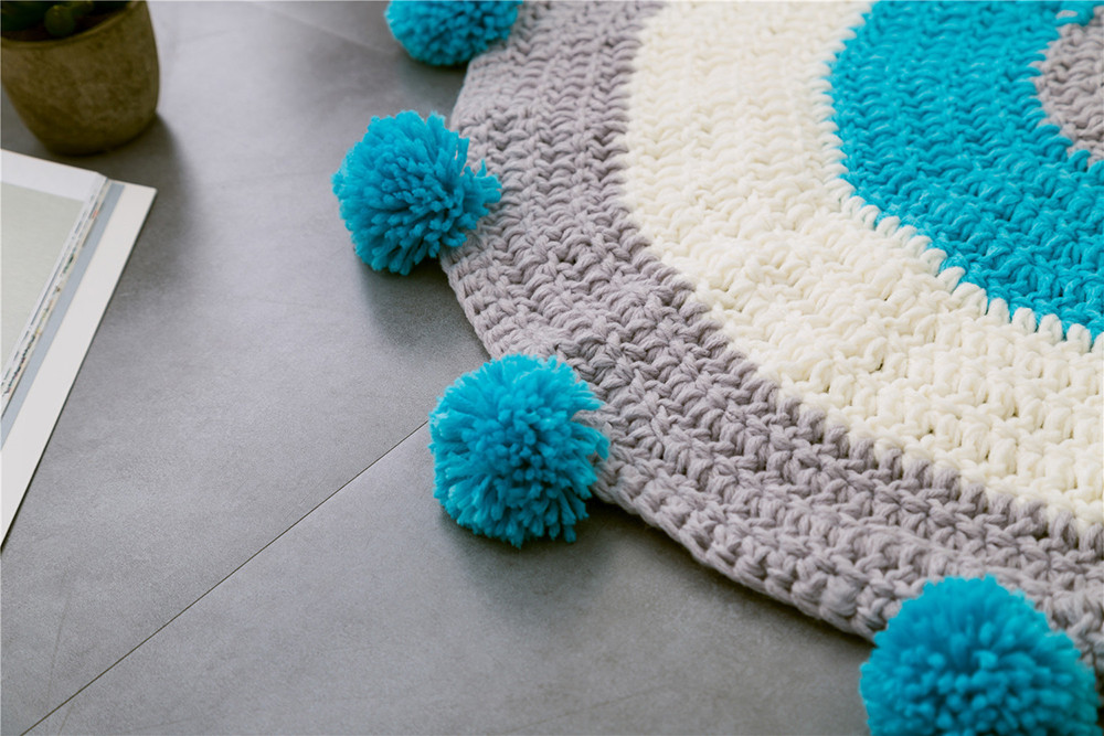 INS Children Premises Mat Hand-woven Mats Baby Play Mats Knitted Blanket Handmade Ball Children Premises Mat Crawling Mat (4)