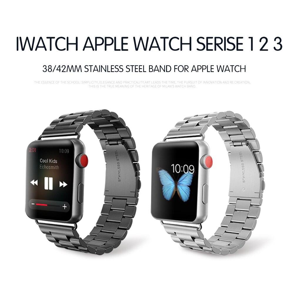 Luxus Edelstahl metall band Strap für apple watch 3/2/1 42 38mm link armband handgelenk gürtel Armband für iWatch Zubehör