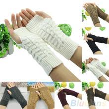 Winter Unisex Arm Warmer Elbow Long Fingerless Mitten Knitted Soft Gloves