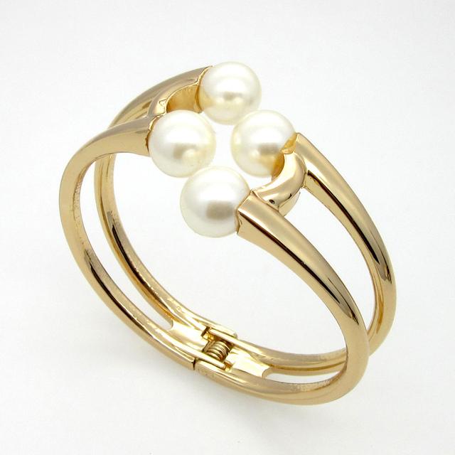 New Fashion Pearl Jewelry Elegant Women Bangle Wristband Bracelet Cuff Bling Lady Gift Bracelets Bangles