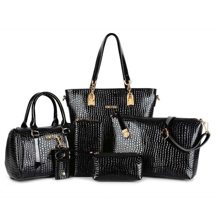 Fashion European style crocodile pattern 6 font b set b font bags font b handbags b