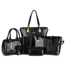 Estilo Europeo de la manera del patrón del cocodrilo 6 Unidades bolsos de las mujeres famosas marcas de hombro messenger bag lady bolso crossbody