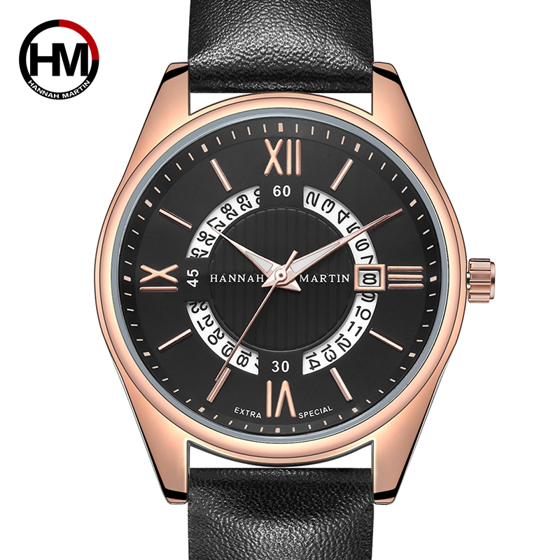 Hannah Martin Wrist Watches Mens Top Brand Luxury Sport Quartz Watch Men Clock Leather Casual Wristwatches Waterproof 30M reloj in Quartz Watches from Watches