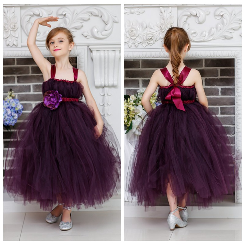 Princess Flower Girls Ball Gown Dress With Ribbons For Wedding/Birthday/Party Theme Of Purple Baby Girls Tutu Tulle Dress  2-10Y silver gray purple pink blue ball gown tutu soft tulle puffy flower girl dress baby 1 year birthday dress with spaghetti straps