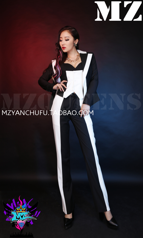 (Suit+vest+Pant ) 2016 Women Singer DJ DS black and white Patchwork Suit Suits Stage Show Costumes S-3XL free shipping