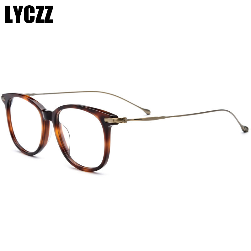 LYCZZ Femmes Hommes Titane Sexy Brun Léopard cadre de verre Myopie optique-lunetterie D'affaires lunettes de vue rétro oculos de sol feminino