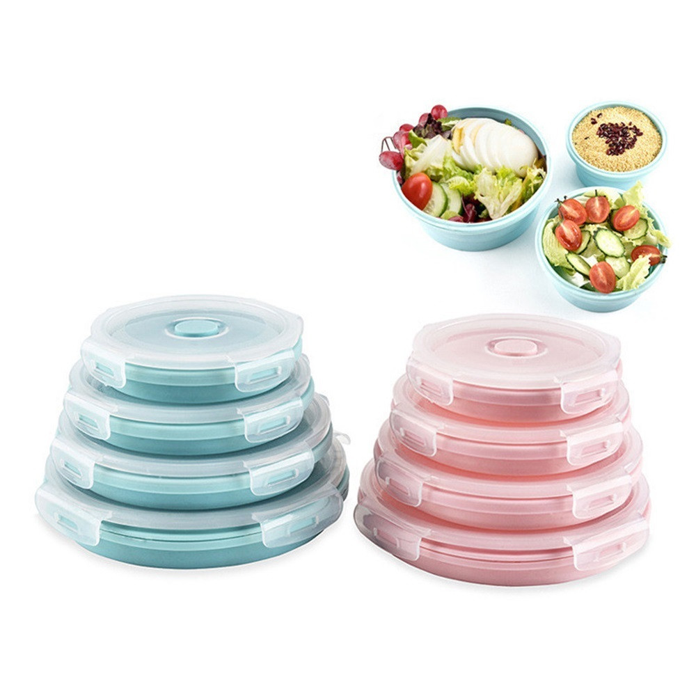 2018 New  Round Silicone Food Containers Folding Silicone Set Stackable Lunch Bento Boxes  #NE801