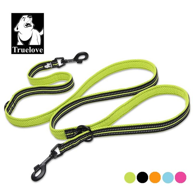 Truelove 7 In 1 Multi-Function Adjustable Dog Lead Hand Free Pet Training Leash Reflective Multi-Purpose Dog Leash Walk 2 Dogs