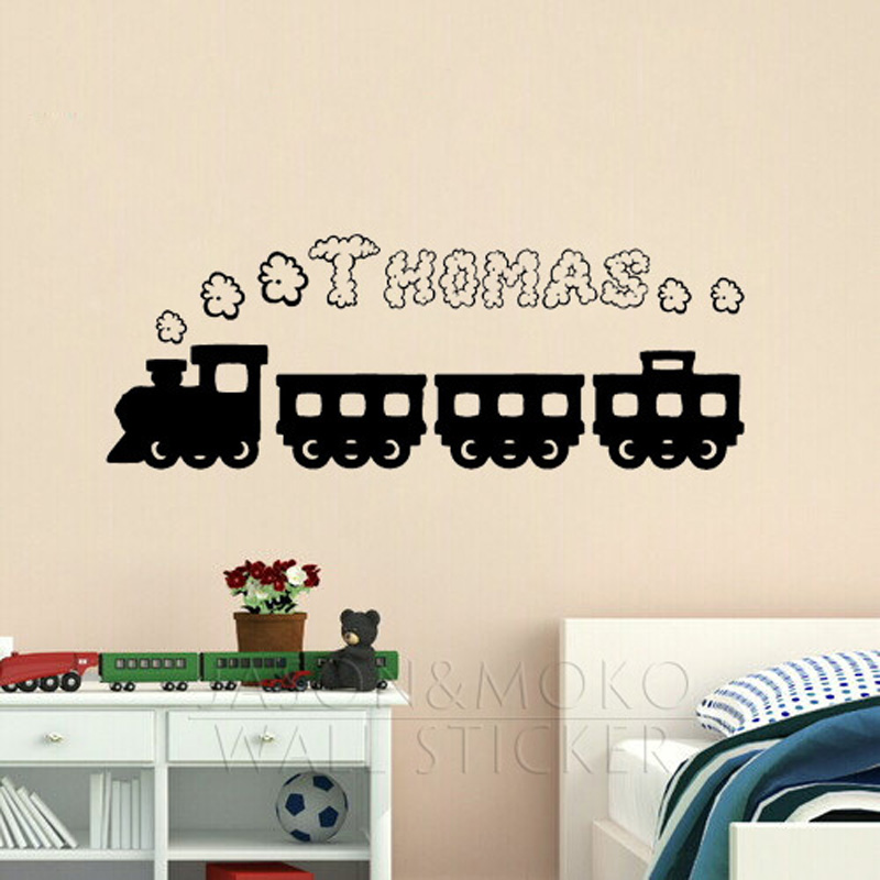 Personalised Customized Name Train Smoke Wall Sticker Decal Mural Wallpaper  For Boys Kids Bedroom Play Room