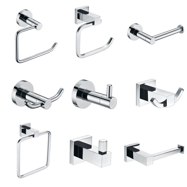 SUS 304 Stainless Steel Bathroom Hardware Sets Chrome Bright Polished  Bathroom Accessories Paper Holder Towel Bar