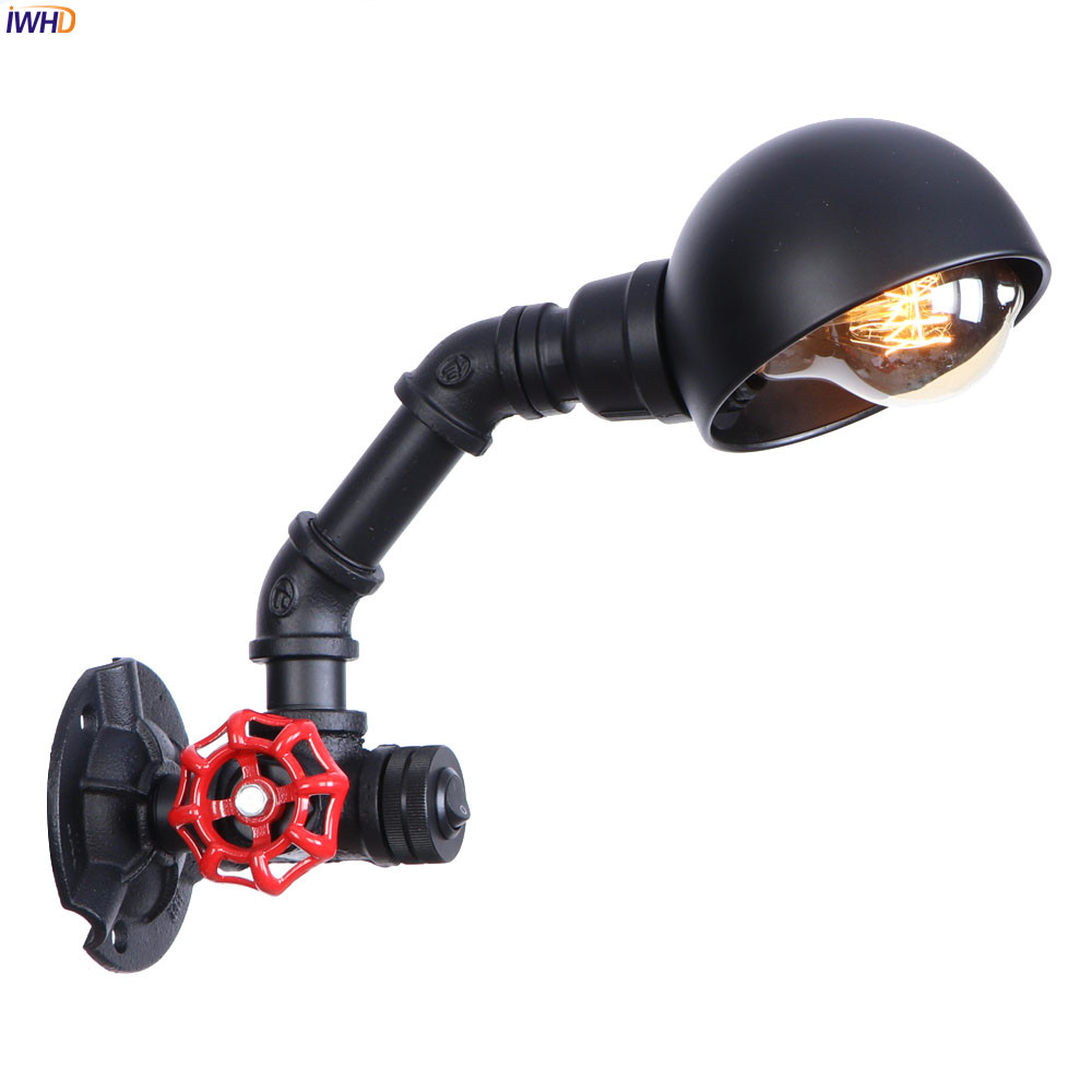 Iwhd Water Pipe Retro Vintage Ceiling Light Fixtures: IWHD Black Iron Retro LED Wall Lamp Fixtures Home Bathroom