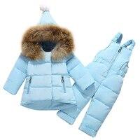 Winter Children Kids Clothing Sets girls Warm Down Jackets Clothing Sets Baby Girls baby Boys Snowsuit Coats Bib Pants Overcoat