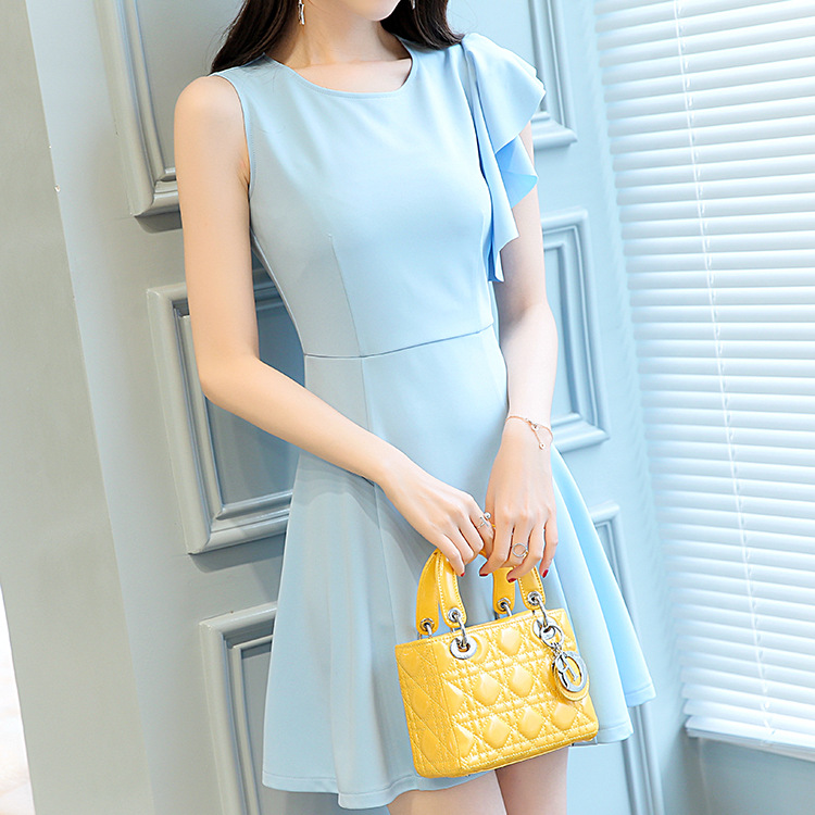 summer 2018 pure color dress is han edition light ripe female wind A a-line round collar sleeveless dress girl
