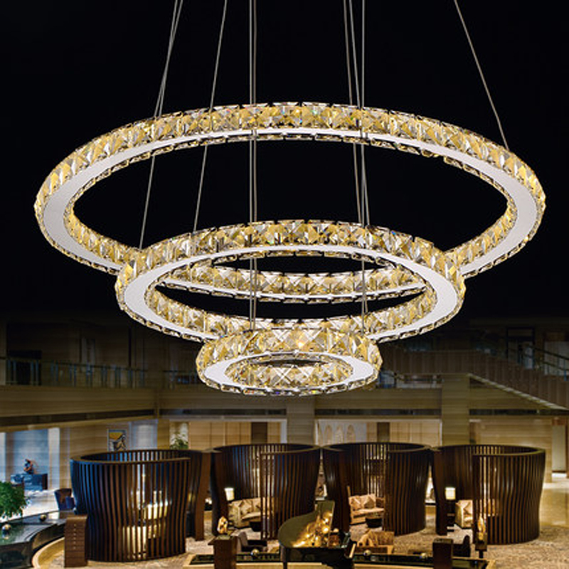 Modern contemporary design 3 ring led led k9 crystal for Suspension a 3 lampes