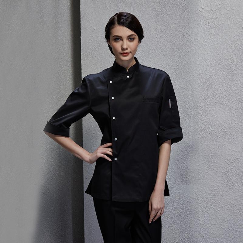 2019 printemps service alimentaire boulangerie manteau cuisine chef veste pour femmes noir pâteux vêtements cuire uniforme avec bouton-pression en métal