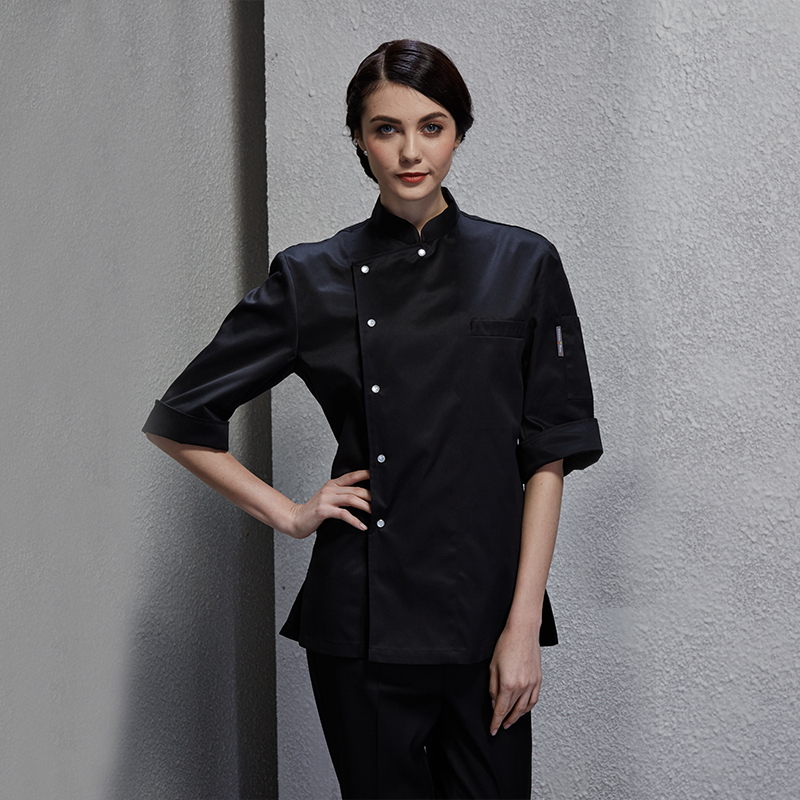 2019 Spring Food Service Bakery Coat Kitchen Chef Jacket For Women Black Pasty Clothes Cook Uniform With Metal Snap-on Button