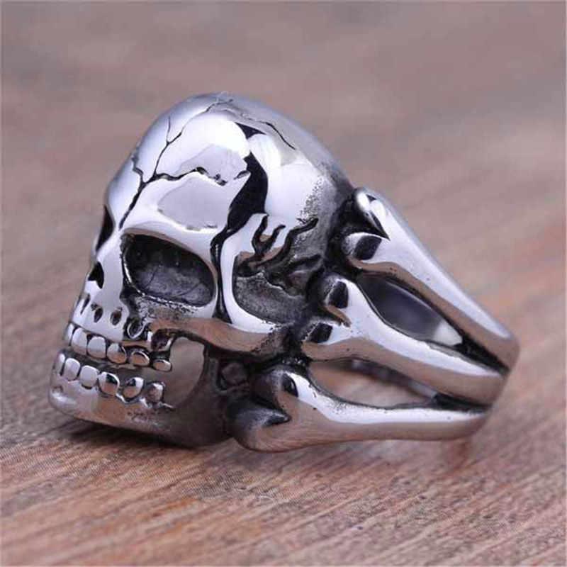 Vintage Silver Black ทิเบต Silver Skeleton แหวน Retro Rock Punk Vampire Skull แหวนผู้ชายแหวนแฟชั่น