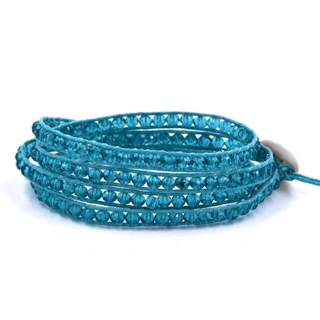 4mm Lake blue crystal 4 Wrap Bracelet on Leather Charm Bracelet Handmade Jewelry Cuff bangle