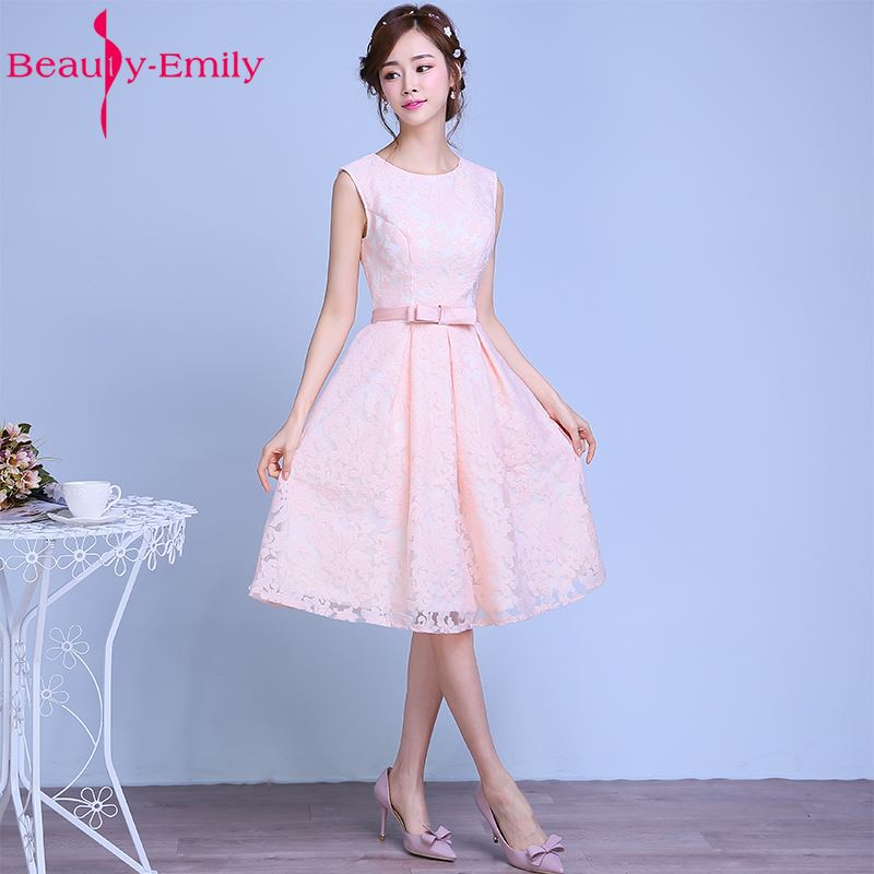 Fashion Pink Lace Flower Short   Bridesmaid     Dresses   2017 Bride Married Banquet Sleeveless Knee-length Wedding Party Formal   Dresses