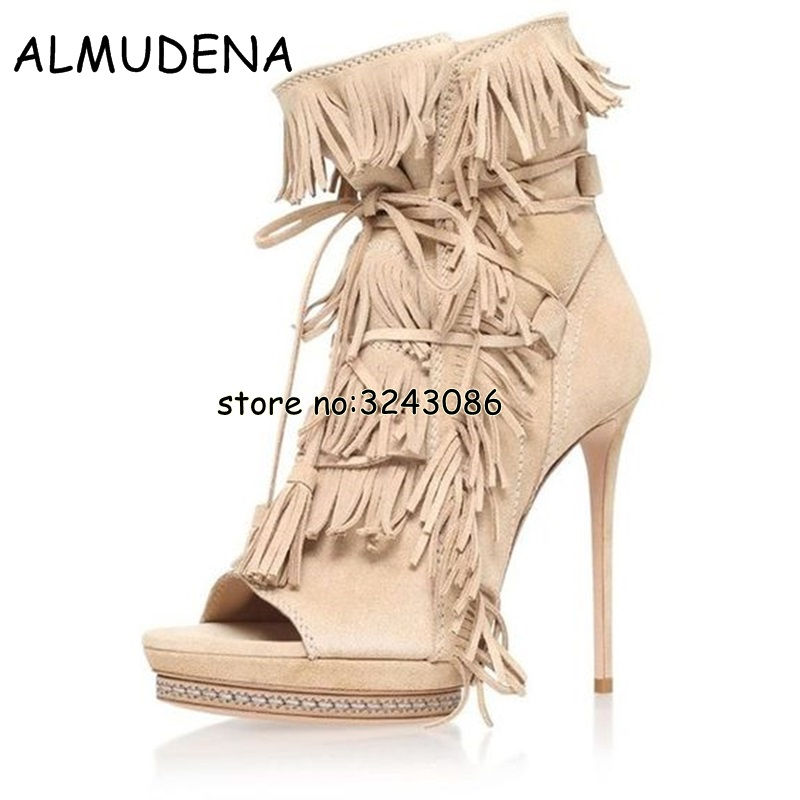 Suede Fringed High Platform Women Ankle Boots Tassel Lace Up High Heels Motorcycle Boots Shoes Peep Toe Short boots ShoesSuede Fringed High Platform Women Ankle Boots Tassel Lace Up High Heels Motorcycle Boots Shoes Peep Toe Short boots Shoes