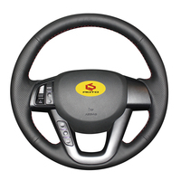 Braid on the Steering Wheel Cover for Kia K5 2011 2012 2013 Kia Optima leather steering wheel case funda volante car styling