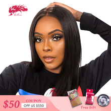 """Brazilian Remy Hair Part Lace Wigs 130% Density Middle Part #1B/#613 Short Human Hair Wigs Ali Queen Hair Lace Front Wig 8""""-14"""""""