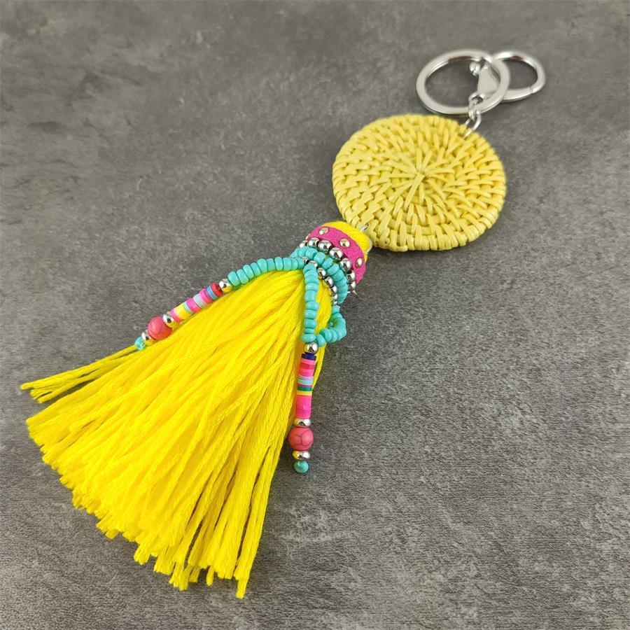Handmade Yellow Tassel Keychain Boho Key Rings Bohemian Big Key Chains Fashion Jewelry Cute Colorful Vintage Punk Accessories