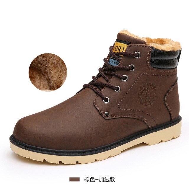Homens tornozelo botas 2016 hot moda PU homens Botas de inverno quente sapatos