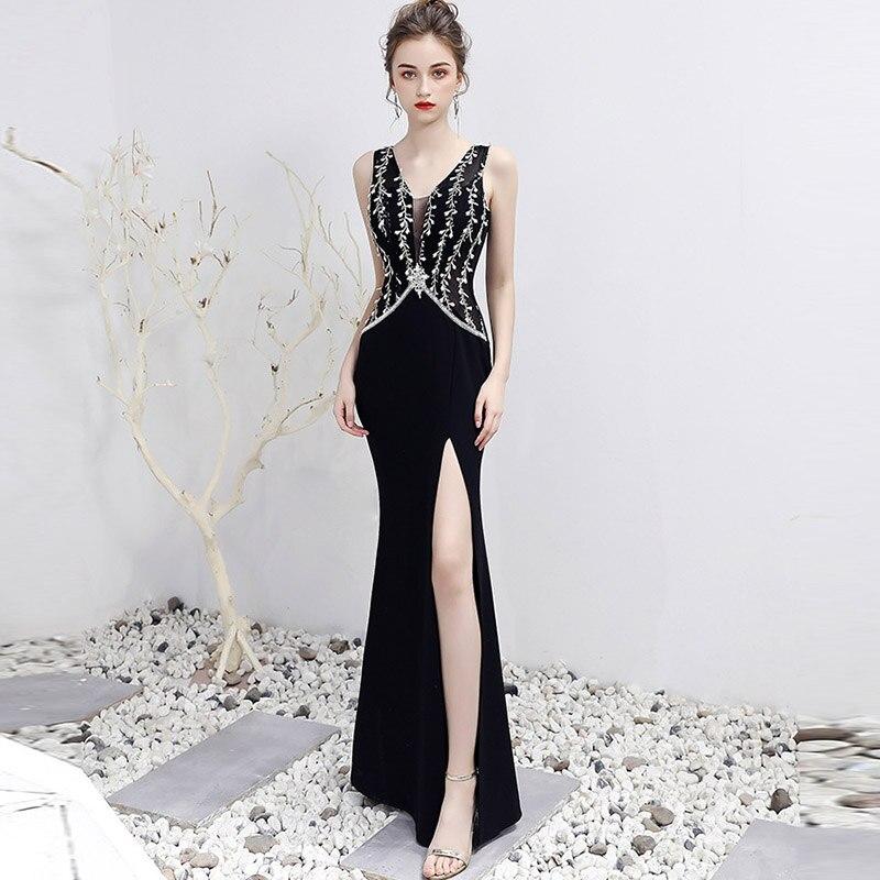 Noir feuille diamants col en V sans manches côté Split luxe formelle soirée longue robe Sexy Club robes 2019 Banquet bal porter