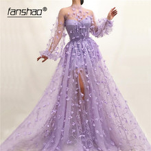 Prom-Dress Evening-Dresses Slit Saudi Arabic Long-Sleeves Lilac Boho Dubai Lace Muslim