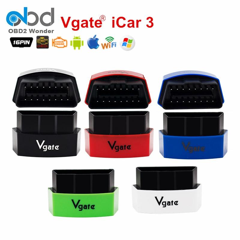 Prix pour Super OBD2 Mini Vgate iCar3 Wifi ELM327 Lecteur de Code Outil iCAR 3 OBD2 ELM 327 Support Multi-Langue Pour Android/IOS/PC