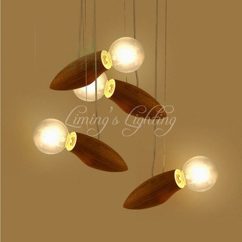 Bird Wooden Modern Creative Cartoon Bee Lamp Balcony Small Wood Loft Pendant Lamp Cord Loft Hanging Light G80 Bulb Stairs denmark antique pinecone ph artichoke oak wooden pineal modern creative handmade wood led hanging chandelier lamp lighting light