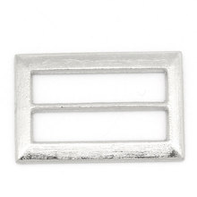 30Pcs Silver Tone Rectangle Shoes Belt Bag Buckles Clasps Crafts Findings 25x16mm
