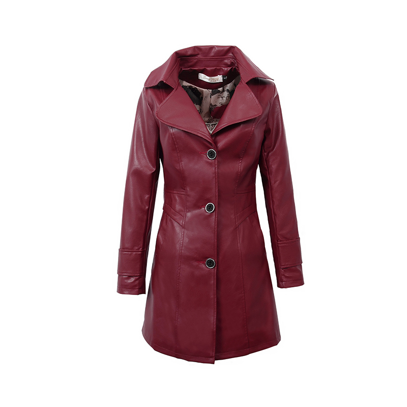 2018 spring and autumn new Korean fashion casual Slim long section Women's   leather   coat PU   leather   coat jacket TB18206