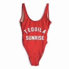 Sexy Swimwear Women Jumpsuit Women Bikini 2017 Summer TEQUILA SUNRISE Print Bodysuit Hipster Party Letter Beach Wear Rompers