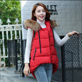 Womens Cotton Vest Winter  Long Wadded Waistcoat Female Fur Collar Cloak Style Cotton Outerwear Casual Women's Vest Jacket C1101