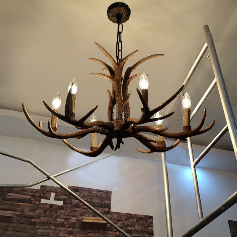 Antlers American village dining room lamp creative personality retro pastoral bedroom Cafe antler chandelier resin ZX111 ledream contracted and creative personality sitting room dining room art glass chandelier american cherry branches pendent lamp