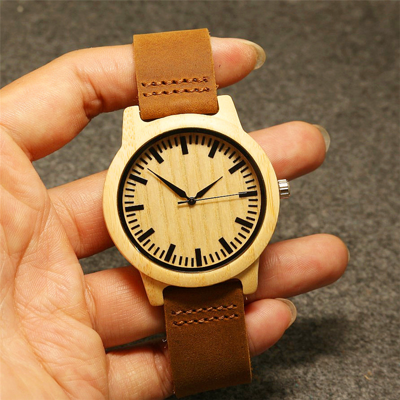 Luxury HOTIME Watch for Men Women Bamboo Wood Quartz Watches With Scale Soft Leather Straps relojes mujer marca de lujo 2017 classic style natural bamboo wood watches analog ladies womens quartz watch simple genuine leather relojes mujer marca de lujo