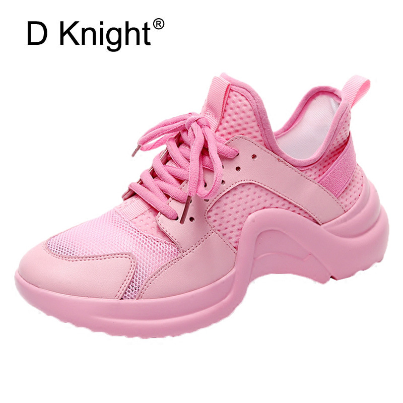 2018 Spring Women New Sneakers Summer Mesh Casual Harajuku Shoes Fashion Lady Flat Platform Female Pink Dad shoes for student mwy women breathable casual shoes new women s soft soles flat shoes fashion air mesh summer shoes female tenis feminino sneakers