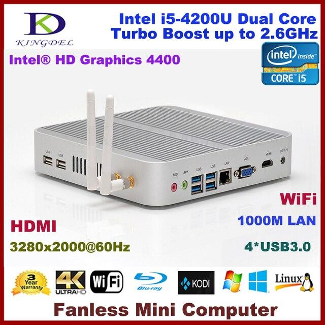Kingdel Win 10 Mini PC,Mini Computer,Fanless Nettop with Intl Haswell i5-4200U CPU,3280*2000,HDMI,VGA,4*USB3.0,WiFi,Metal Case
