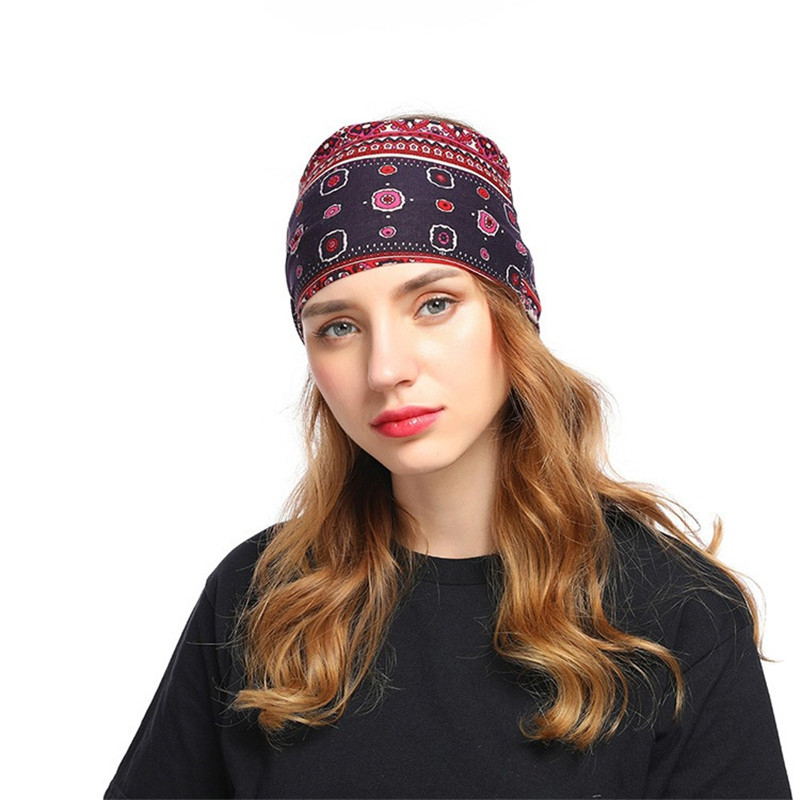 Fashion Women Print Headband Girl Stretchy Hairband Wide Head Wrap Turban Headband Hair Accessories For Women in Women 39 s Hair Accessories from Apparel Accessories