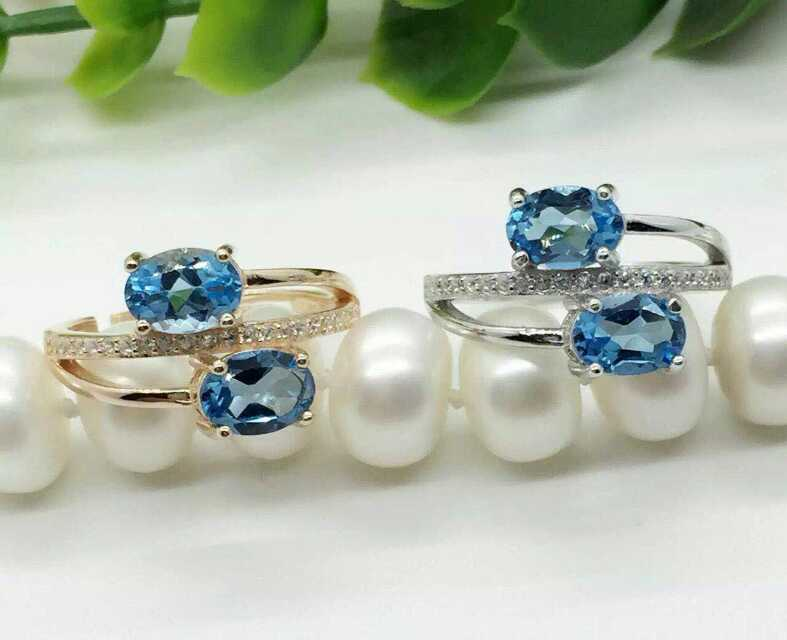 Natural blue topaz gem Ring Natural gemstone ring 925 sterling silver trendy Romantic double women's girl gift fine Jewelry