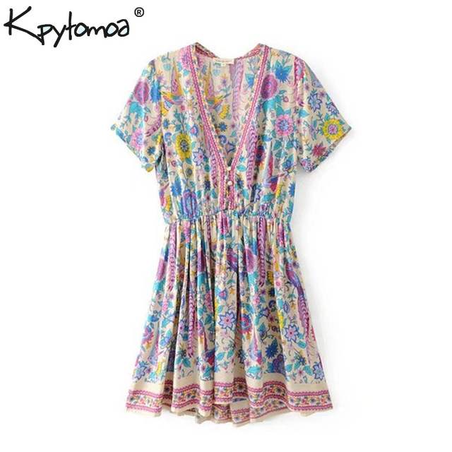 dd5febd4ce311 US $17.4 36% OFF Boho Chic Summer Vintage Floral Print Pleated Mini Dress  Women 2019 Fashion V Neck Buttons Rayon Beach Dresses Vestidos Mujer-in ...