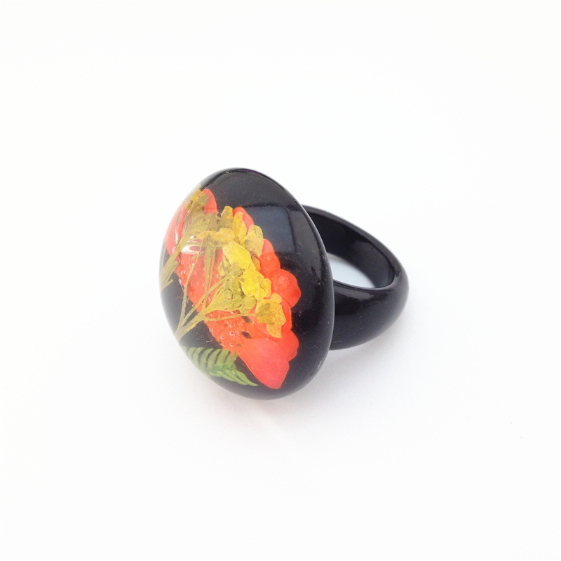 european and american fashion jewelry wholesale ring black plastic really flowers leaves special female ring - Plastic Wedding Rings
