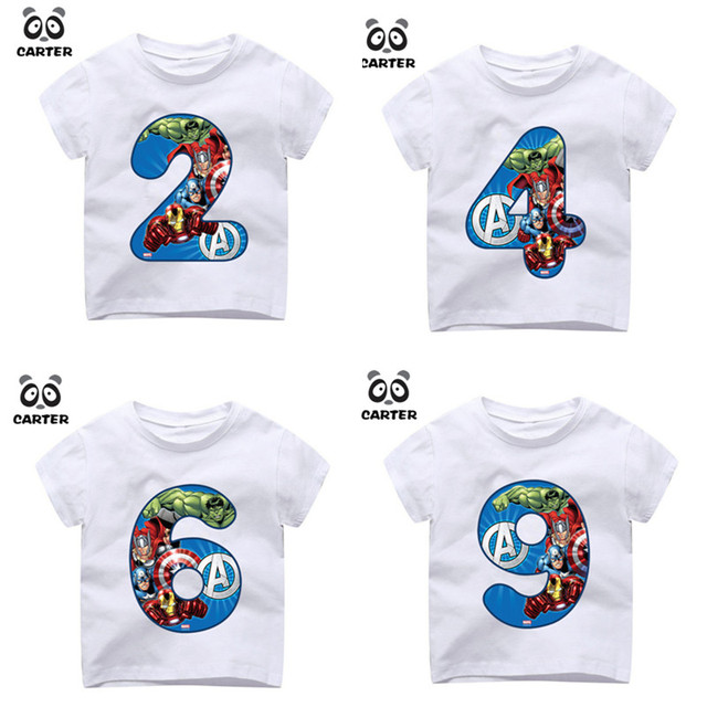 Kids Happy Birthday Avengers Number 19th T Shirts Boy And Girl Superhero Tshirt Baby Spiderman Top Children Clothes