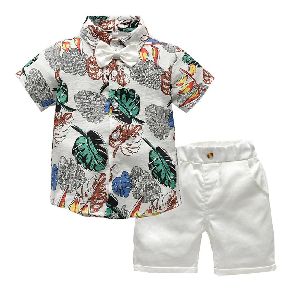 Top Fashion And Top Fashion Baby Boy Gentleman Clothes Summer Short Sleeve Floral Shirt With Bow Tie+Shorts Kids Boy 2Pcs Clothe