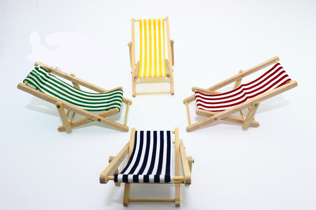 1:12 Scale Recliner Beach Sunbathing Chair Chaise Longue Dollhouse  Miniature Toy Doll Food Kitchen