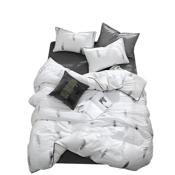 2019 Grey Feathers White Bedding Set Duvet Cover Twin Queen King Flat Sheet Fitted Sheet Cotton Bedlinens Pillowcases